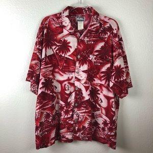 Quiksilver Red Hawaii Theme Aloha Shirt M